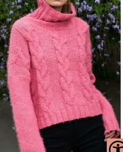 POL Turtleneck Cable Knit Sweater Sz.L Pink NWT